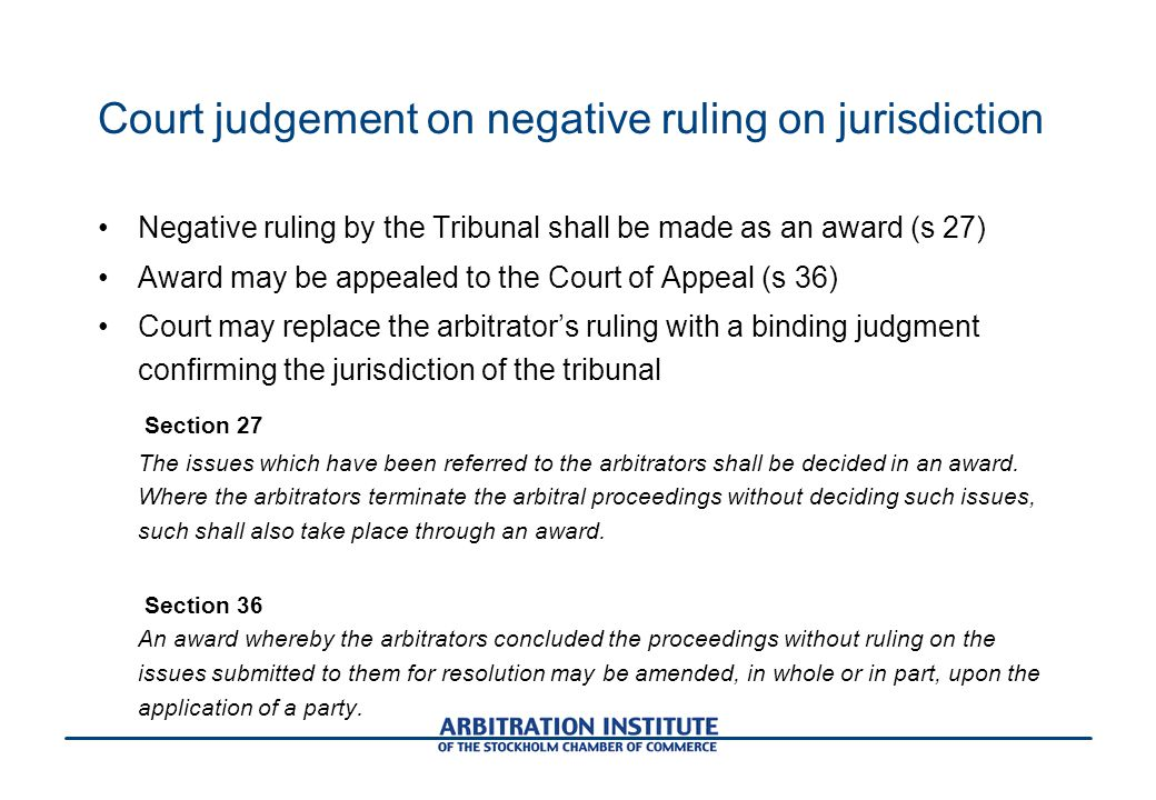Court judgement on negative ruling on jurisdiction