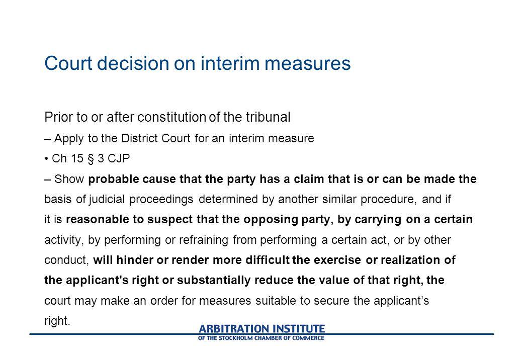 Court decision on interim measures