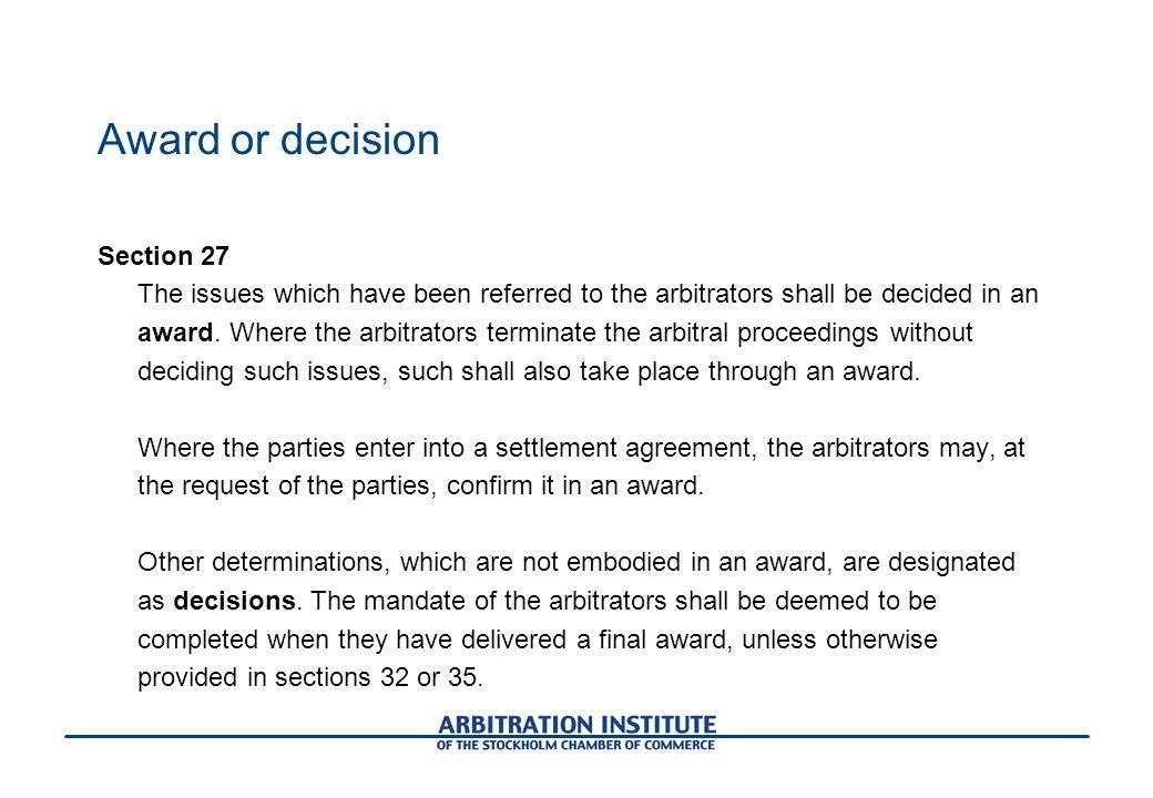 Award or decision