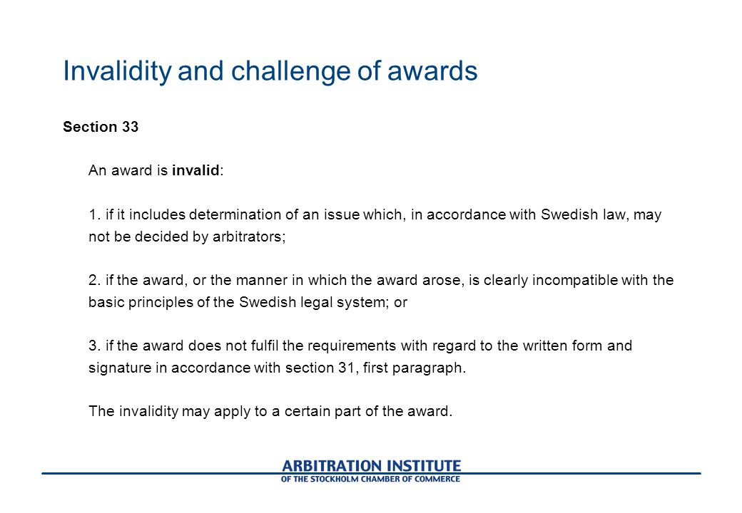 Invalidity and challenge of awards