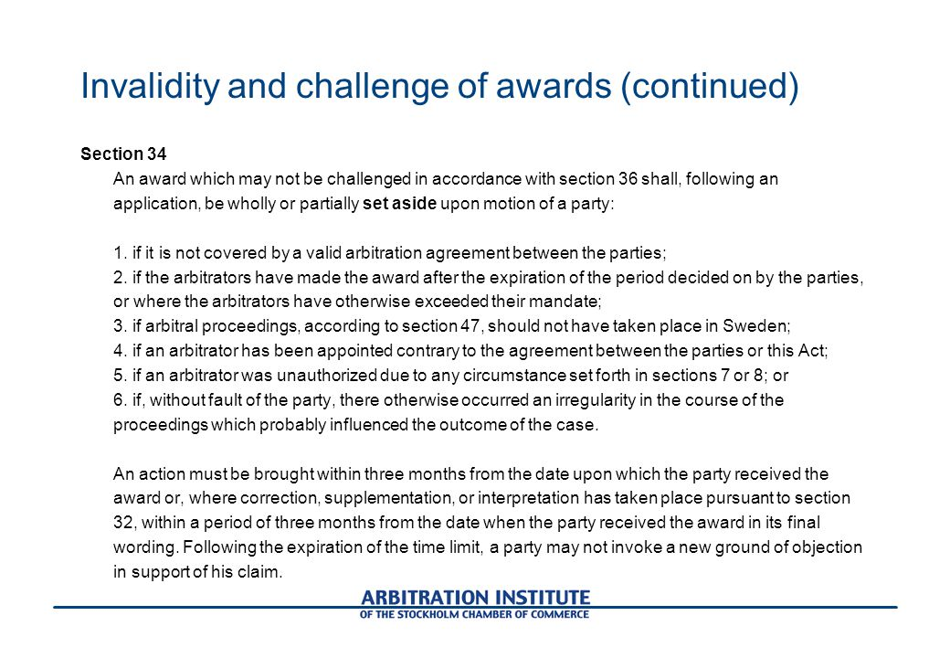 Invalidity and challenge of awards (continued)