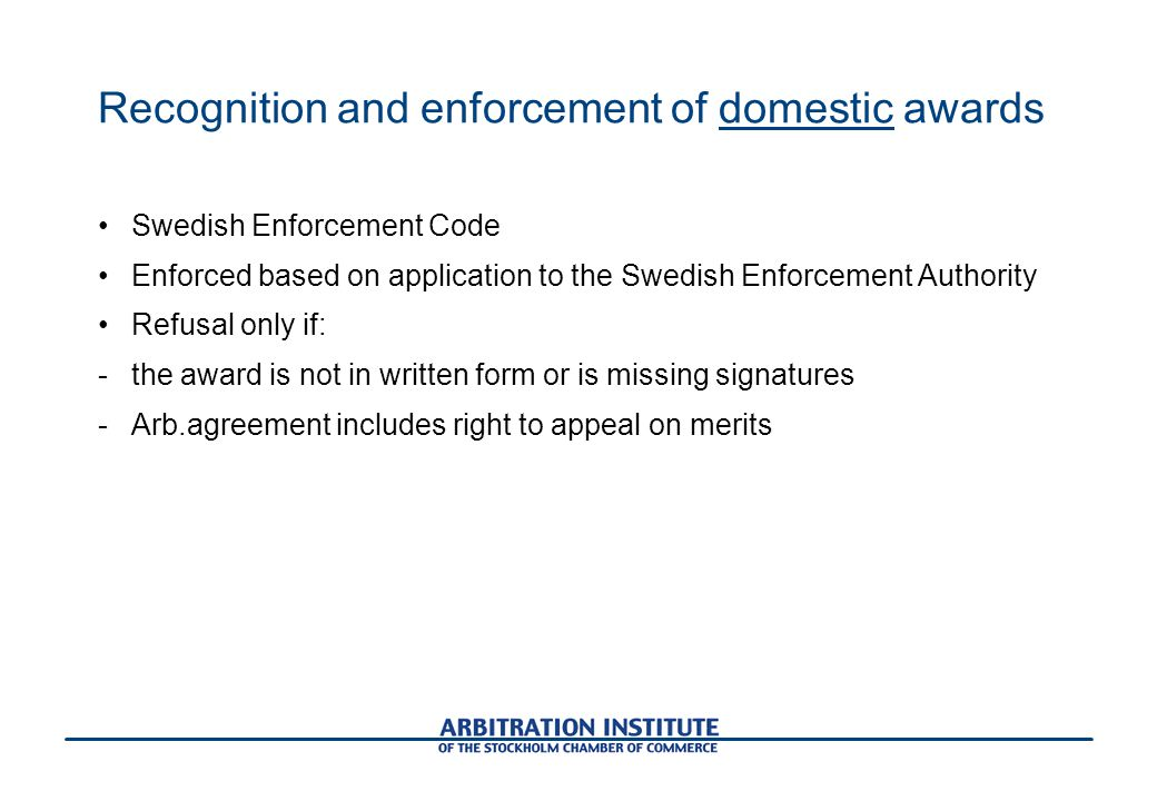 Recognition and enforcement of domestic awards