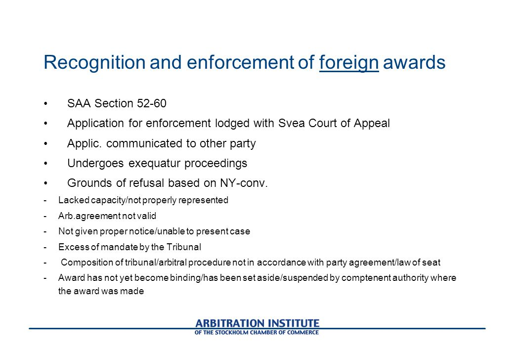 Recognition and enforcement of foreign awards