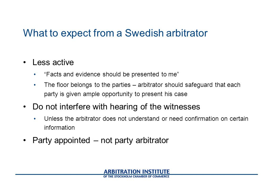 What to expect from a Swedish arbitrator