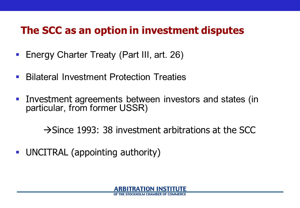 The SCC as an option in investment disputes