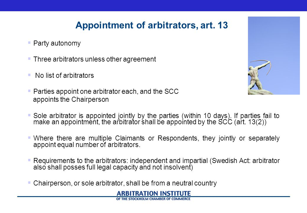 Appointment of arbitrators, art. 13