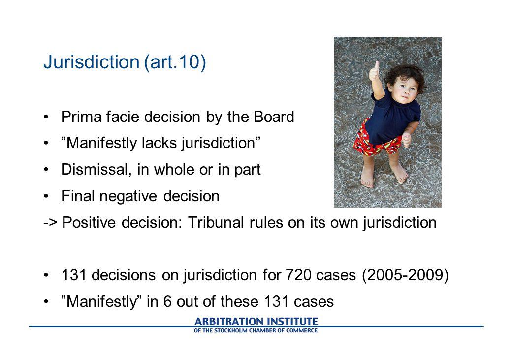 Jurisdiction (art.10) Prima facie decision by the Board