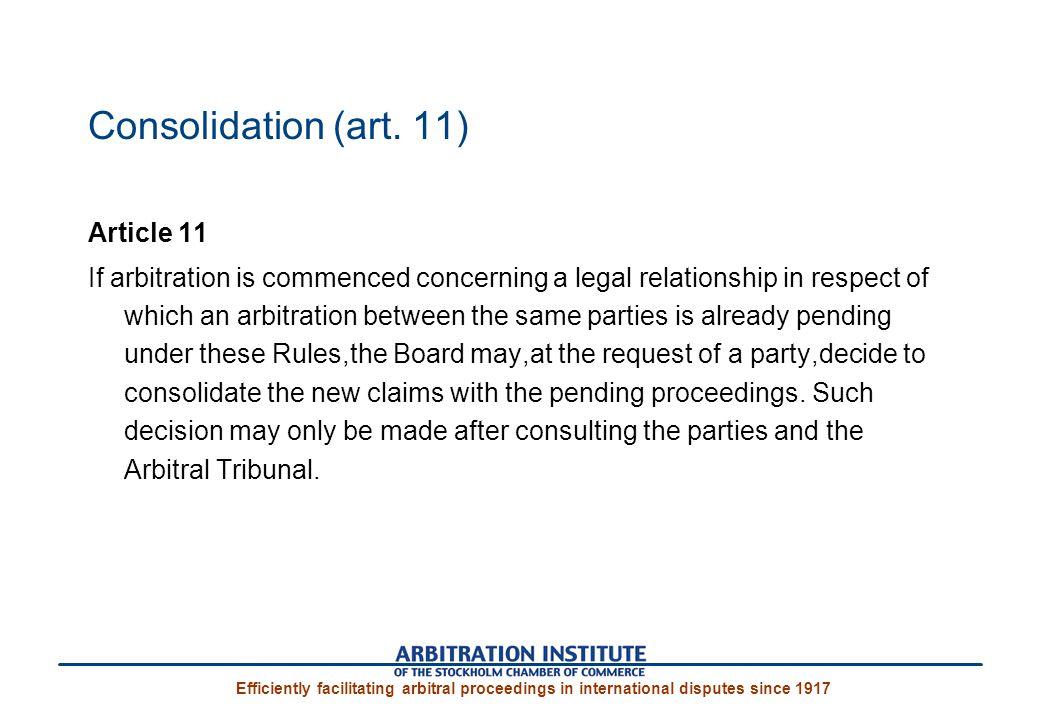 Consolidation (art. 11)