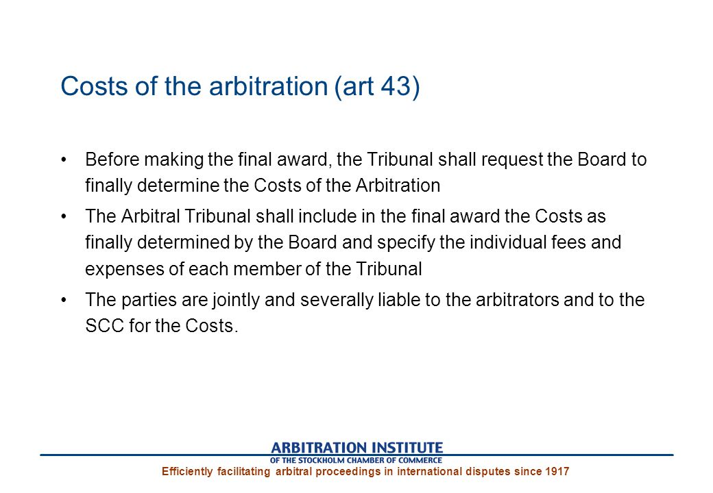 Costs of the arbitration (art 43)