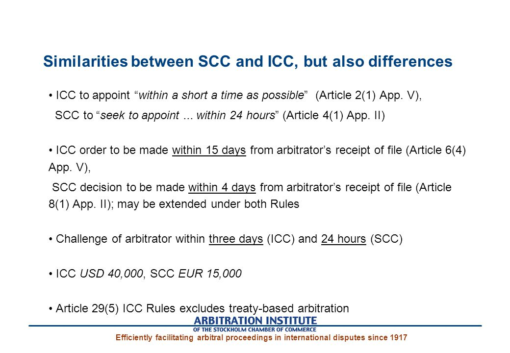 Similarities between SCC and ICC, but also differences