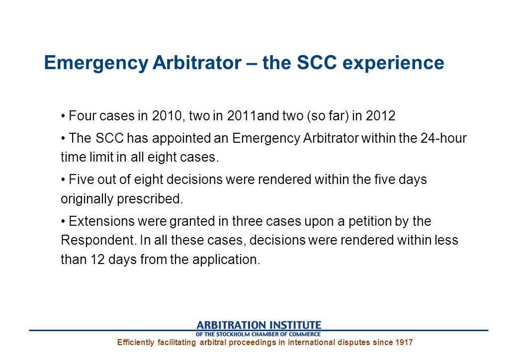 Emergency Arbitrator – the SCC experience