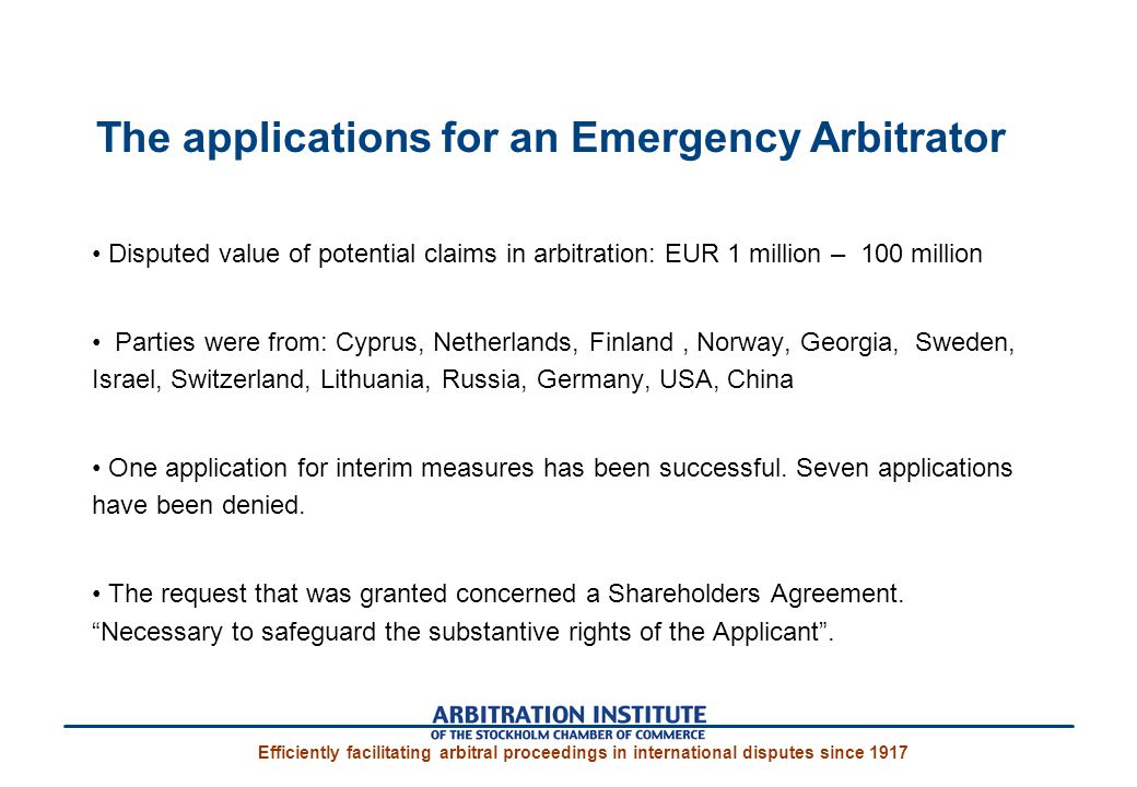 The applications for an Emergency Arbitrator
