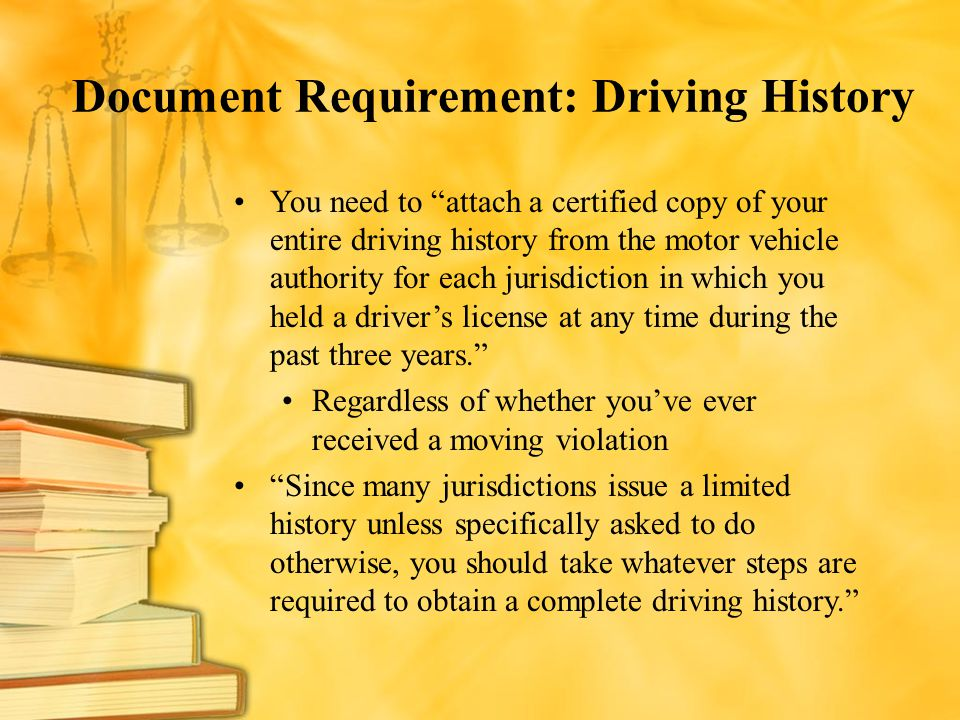 Document Requirement: Driving History