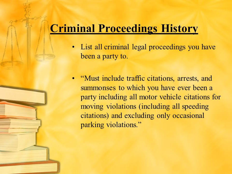 Criminal Proceedings History