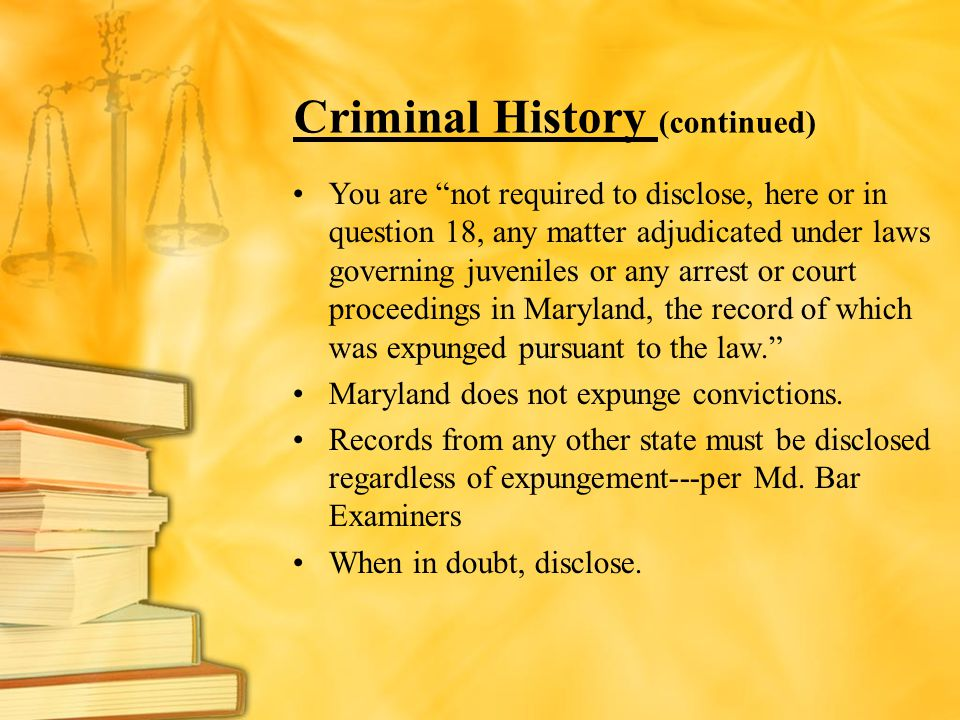 Criminal History (continued)