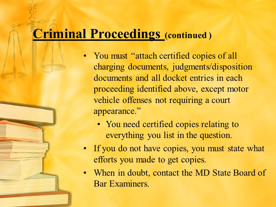 Criminal Proceedings (continued )