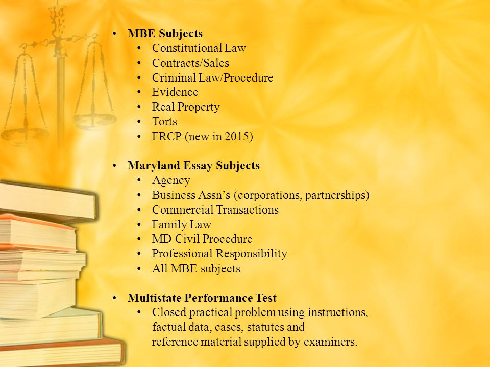 navigating the maryland bar application ppt  criminal law procedure evidence real property torts frcp new in 2015
