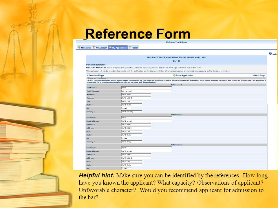 Reference Form