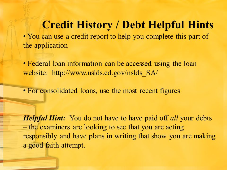 Credit History / Debt Helpful Hints