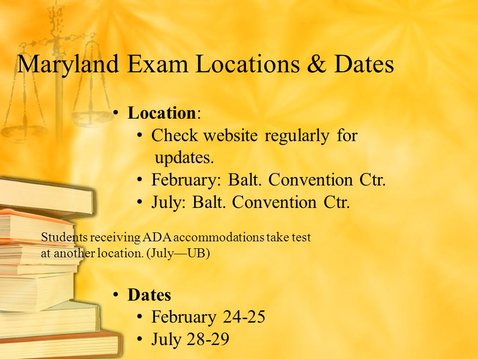 Maryland Exam Locations & Dates