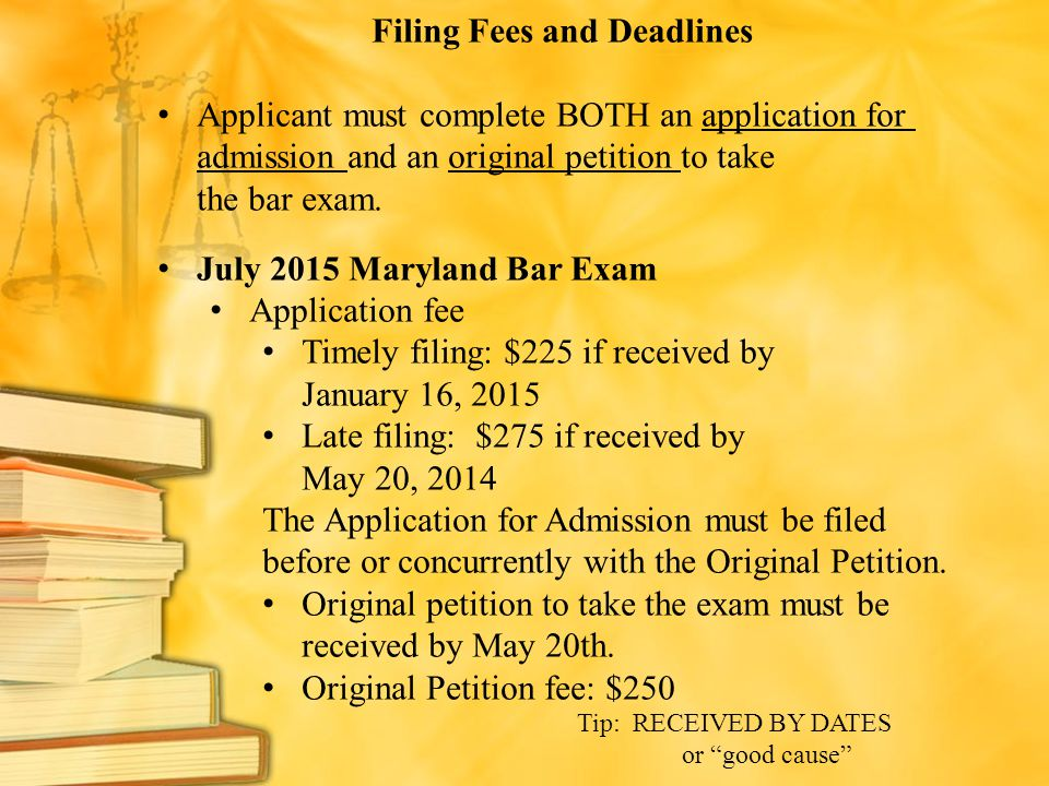 Filing Fees and Deadlines
