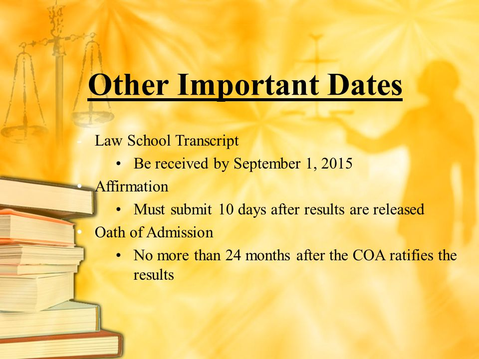 Other Important Dates Law School Transcript