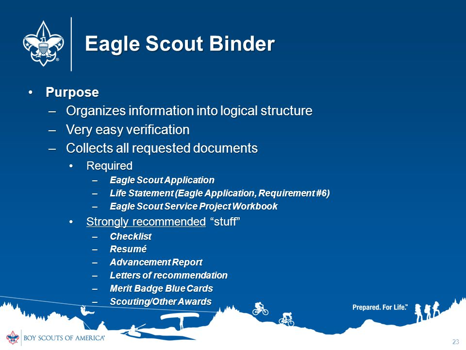 Eagle Scout Binder Purpose