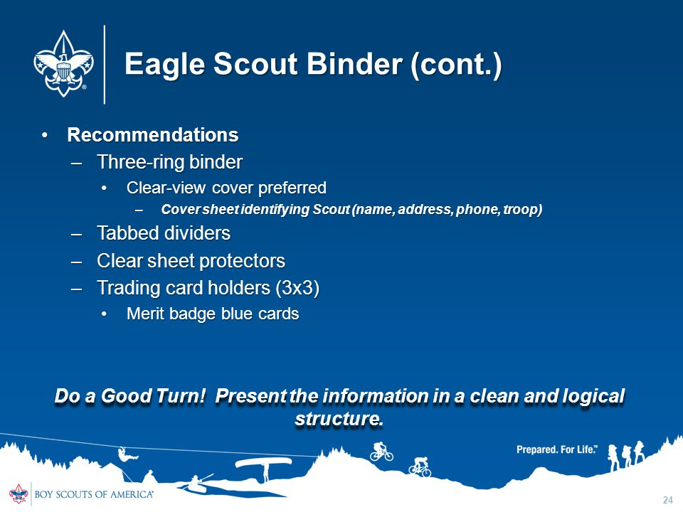 Eagle Scout Binder (cont.)