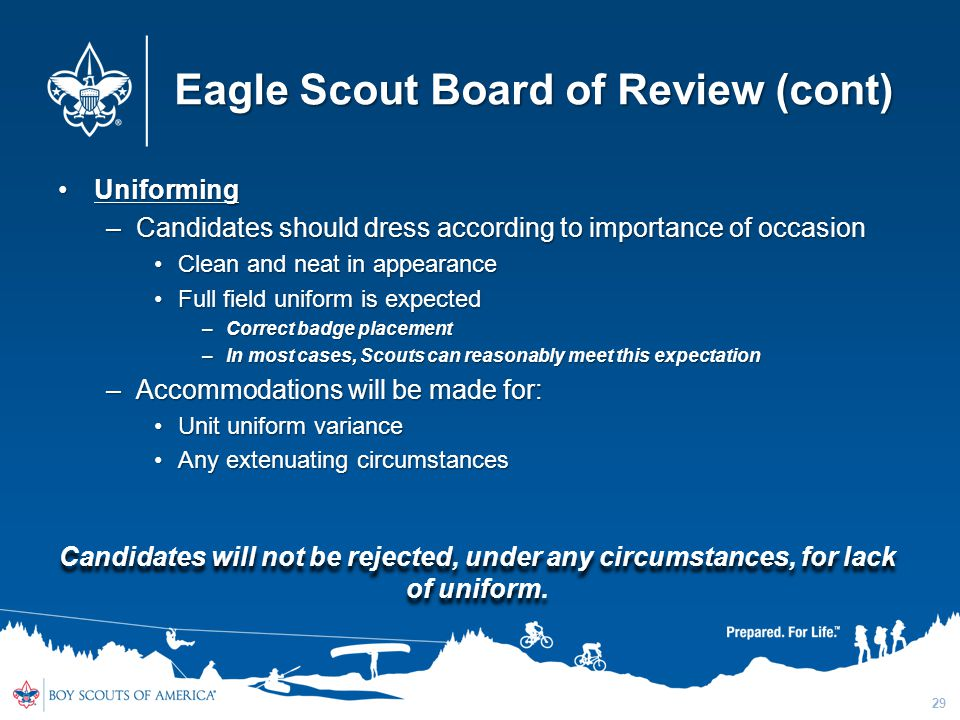 Eagle Scout Board of Review (cont)