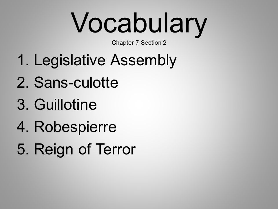 Vocabulary Chapter 7 Section 2