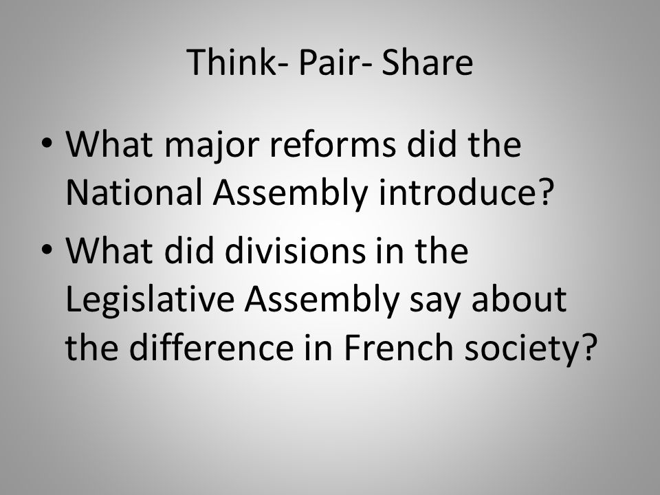 Think- Pair- Share What major reforms did the National Assembly introduce