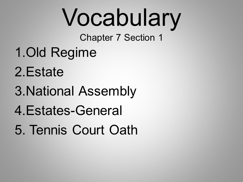 Vocabulary Chapter 7 Section 1