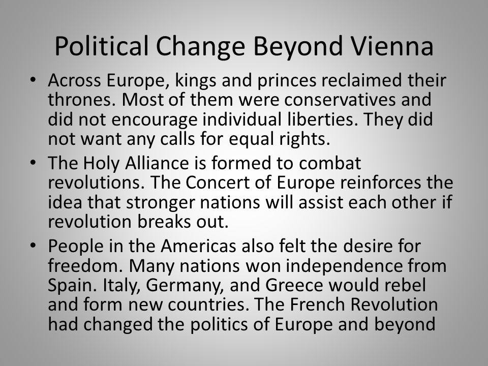 Political Change Beyond Vienna