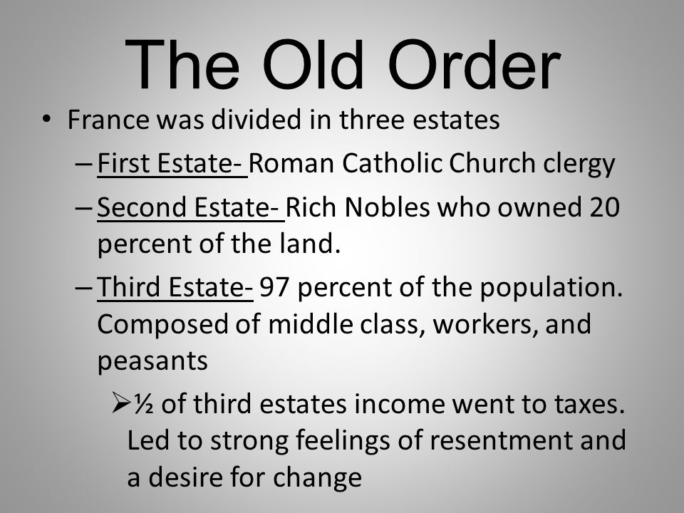 The Old Order France was divided in three estates