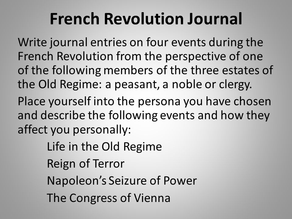 French Revolution Journal