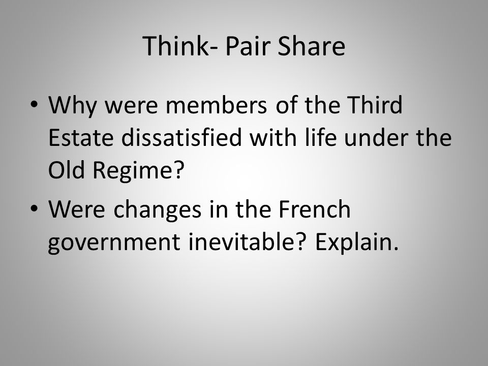 Think- Pair Share Why were members of the Third Estate dissatisfied with life under the Old Regime