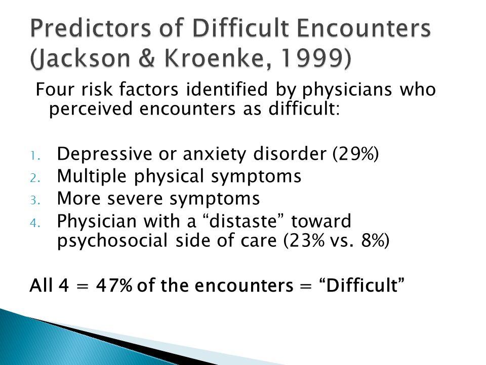 Predictors of Difficult Encounters (Jackson & Kroenke, 1999)