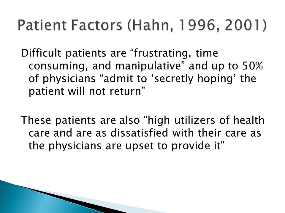 Patient Factors (Hahn, 1996, 2001)