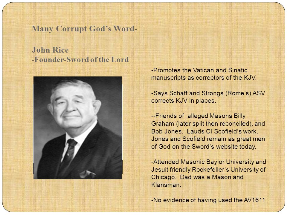 Many Corrupt God's Word- John Rice -Founder-Sword of the Lord