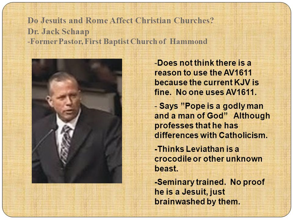 Do Jesuits and Rome Affect Christian Churches. Dr