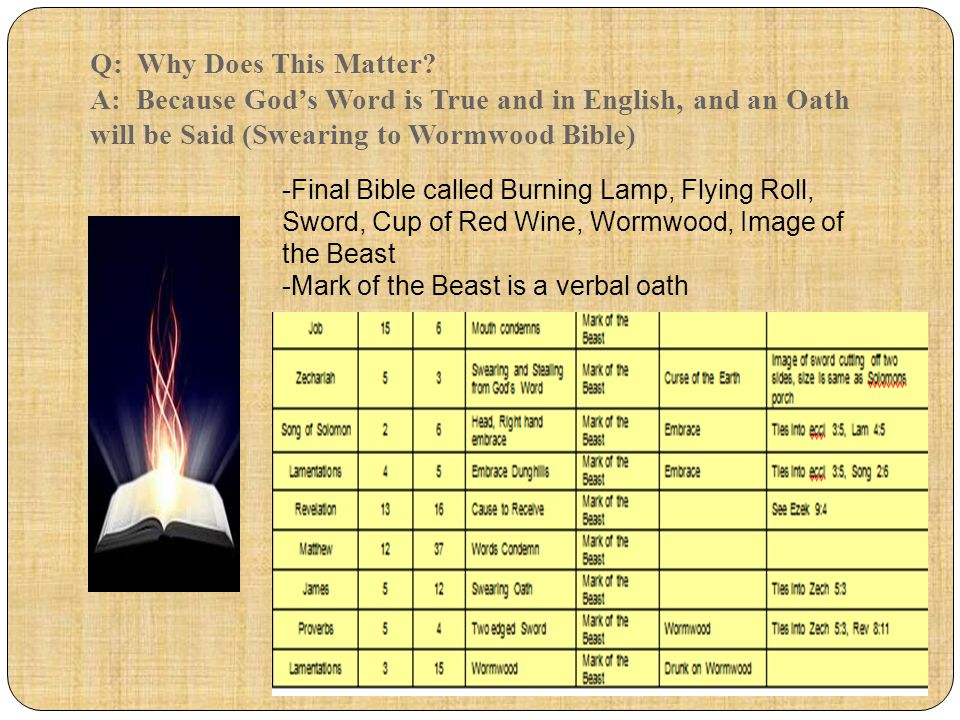 Q: Why Does This Matter A: Because God's Word is True and in English, and an Oath will be Said (Swearing to Wormwood Bible)