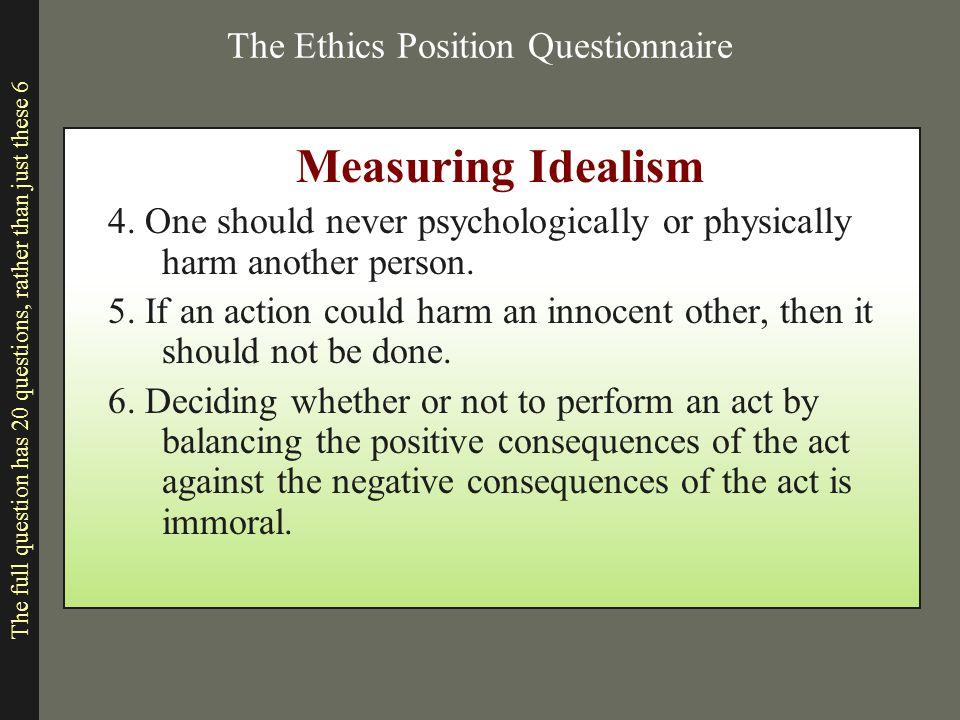 The Ethics Position Questionnaire