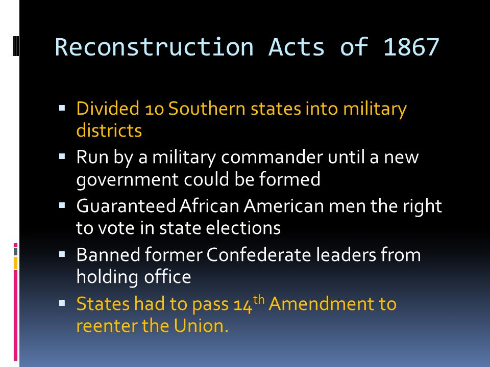 Reconstruction Acts of 1867