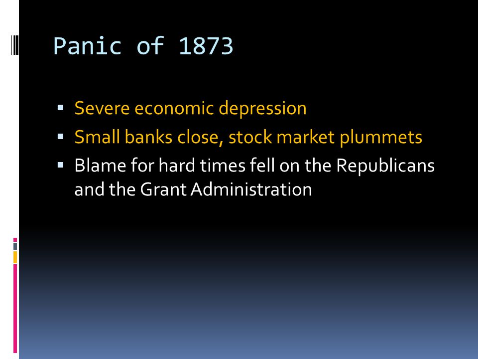 Panic of 1873 Severe economic depression