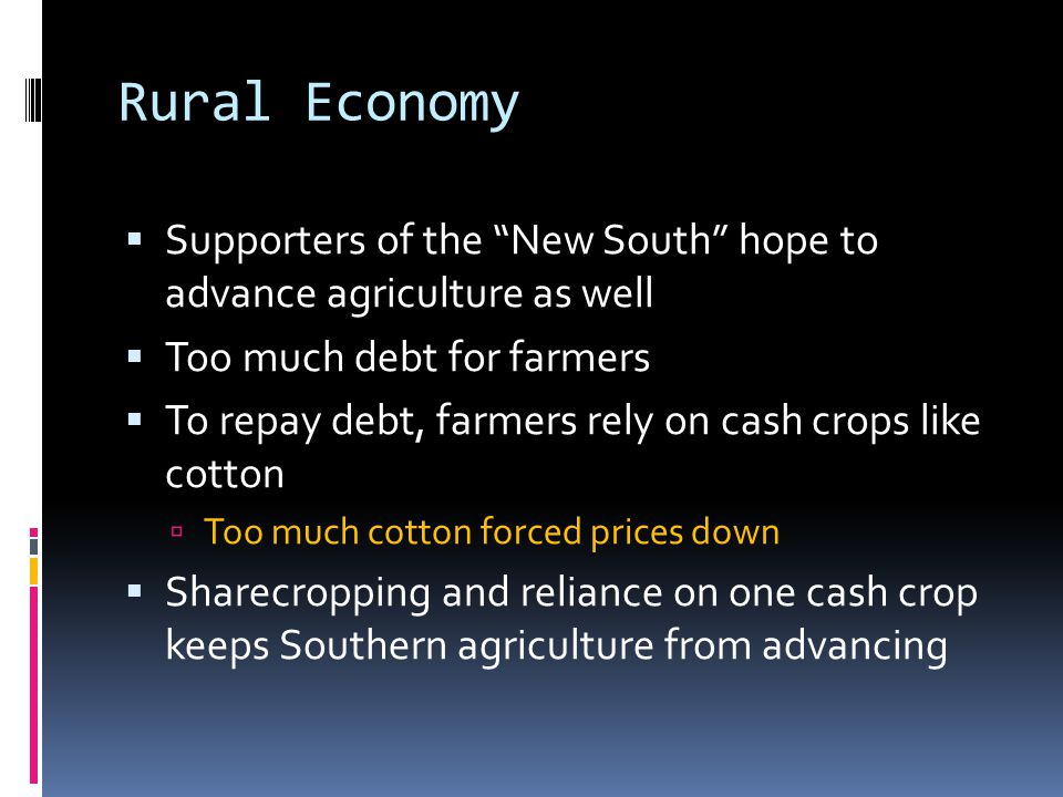 Rural Economy Supporters of the New South hope to advance agriculture as well. Too much debt for farmers.