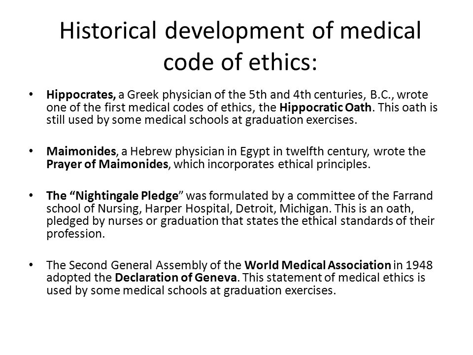 Historical development of medical code of ethics: