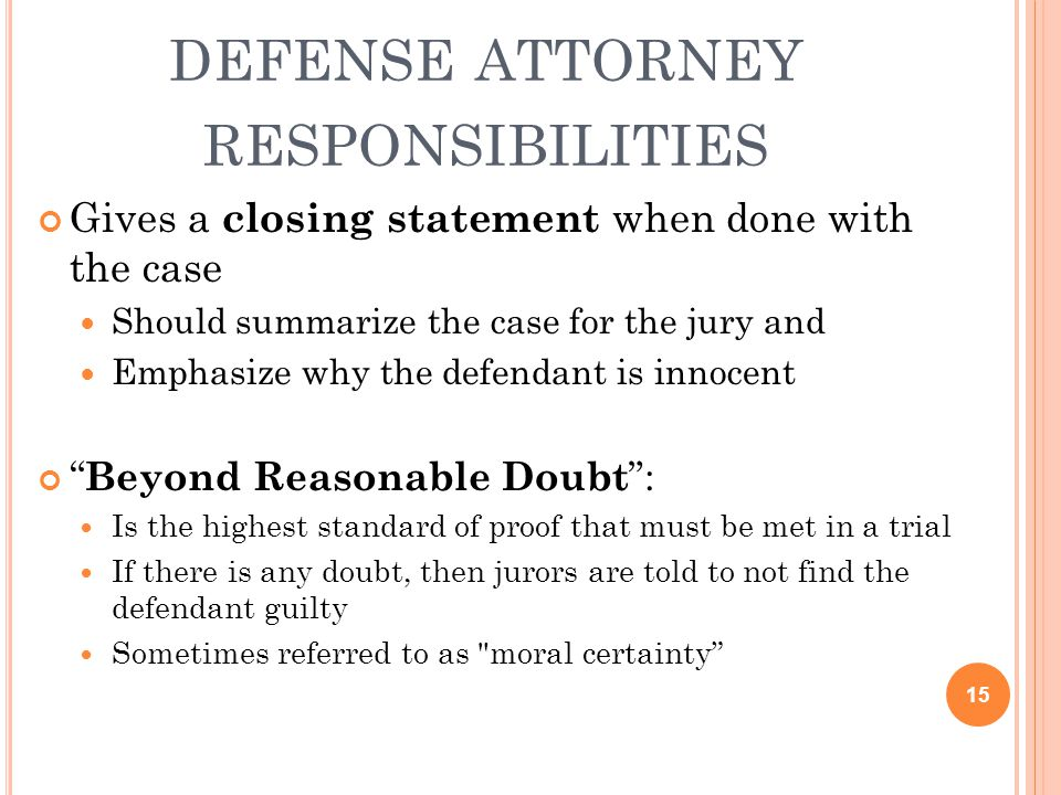 defense attorney responsibilities