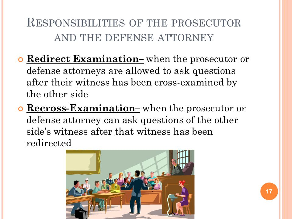 Responsibilities of the prosecutor and the defense attorney