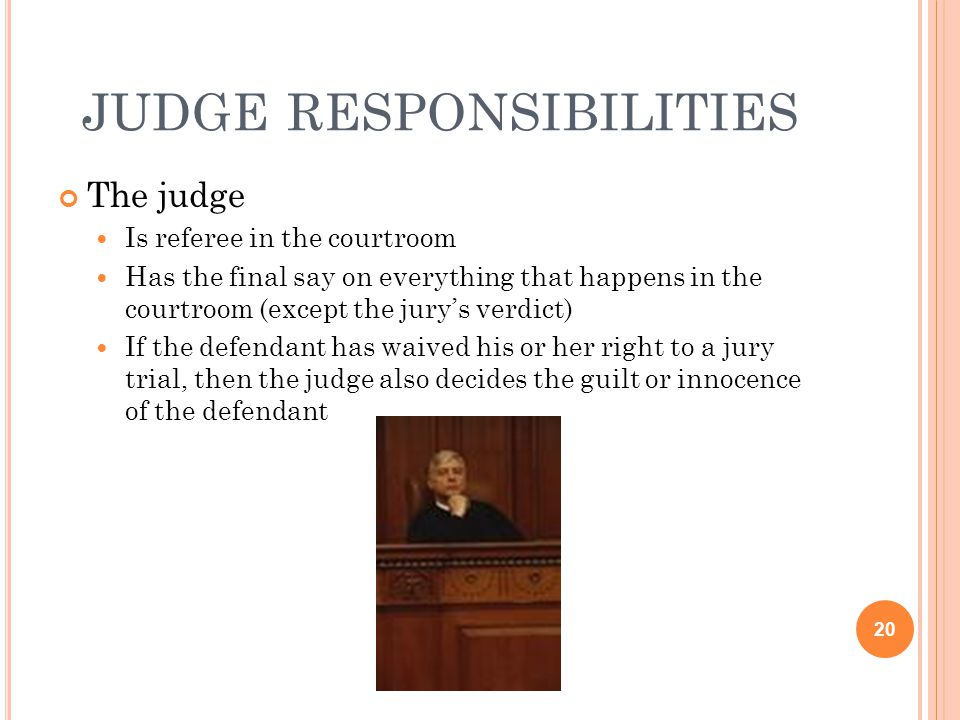 judge responsibilities