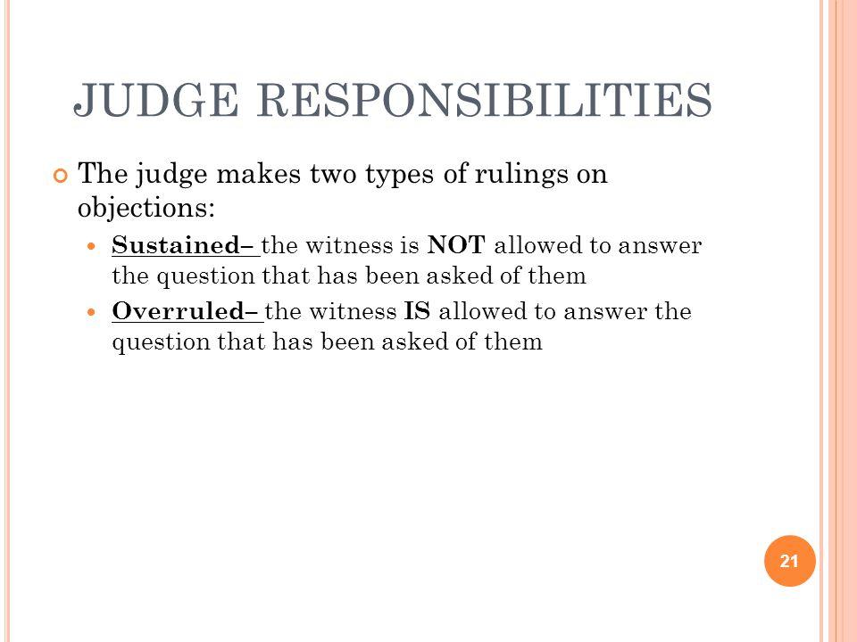 judge responsibilities